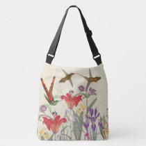 Hummingbird Birds Garden Flowers Shoulder Tote Bag
