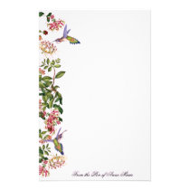 Hummingbird Birds Honeysuckle Flowers Floral Stationery