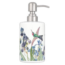 Hummingbird Birds Iris Flowers Bath Set