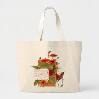 Hummingbird Birds Lantana Flowers Floral Poem Large Tote Bag