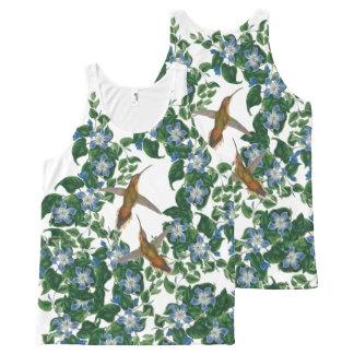 Hummingbird Birds Mandevilla Flowers Floral All-Over Print Tank Top