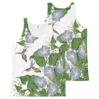 Hummingbird Birds Morning Glory Flowers Floral All-Over Print Tank Top
