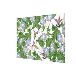 Hummingbird Birds & Morning Glory Flowers Floral Canvas Print