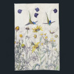 """Hummingbird Birds Mums Wildflowers Kitchen Towel<br><div class=""""desc"""">Gorgeous  collage of    vintage botanical fine art of Spatuletail   Hummingbird  Birds,    with Crysanthemum Wildflower  Flowers with  botany notes,      is on this Kitchen Towel.  Images are  public domain due to expired copyright. Collage    is by me.</div>"""