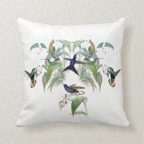Hummingbird Birds Orchid Flowers Throw Pillow