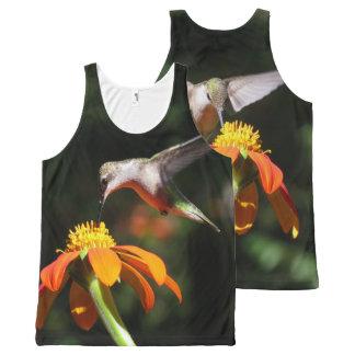 Hummingbird Birds Sunflower Flower Floral Garden All-Over Print Tank Top