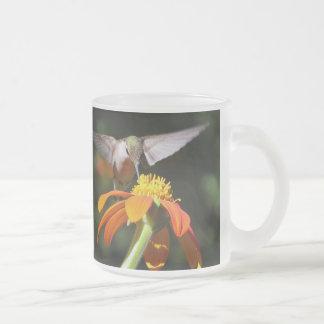 Hummingbird Birds Sunflower Flowers Floral Garden Frosted Glass Coffee Mug