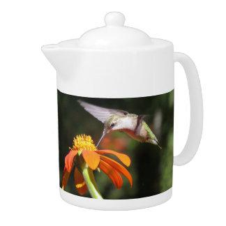 Hummingbird Birds Sunflower Flowers Floral Garden Teapot