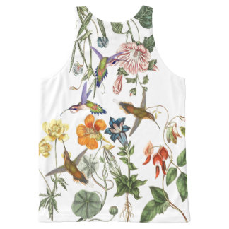 Hummingbird Birds Wildlife Animal Flower Floral All-Over-Print Tank Top