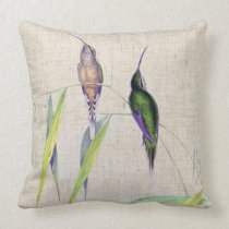 Hummingbird Birds Wildlife Animals Bamboo Leaves Throw Pillow