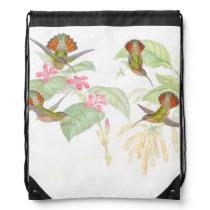 Hummingbird Birds Wildlife Animals Flowers Drawstring Backpack