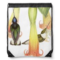 Hummingbird Birds Wildlife Animals Flowers Drawstring Bag