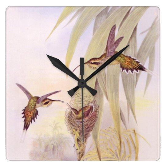 Hummingbird Birds Wildlife Animals Flowers Floral Square Wall Clock