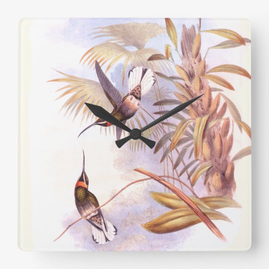 Hummingbird Birds Wildlife Animals Flowers Floral Square Wall Clock