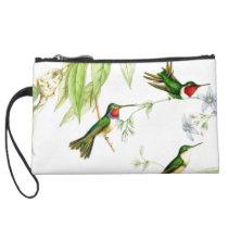 Hummingbird Birds Wildlife Animals Flowers Floral Suede Wristlet