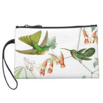 Hummingbird Birds Wildlife Animals Flowers Floral Suede Wristlet Wallet