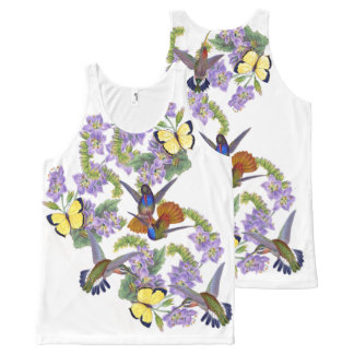 Hummingbird Birds Wildlife Butterfly Floral Gould All-Over Print Tank Top