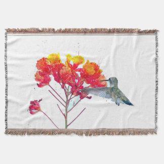 Hummingbird Birds Wildlife Flowers Floral Animals Throw Blanket