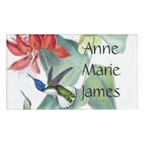 Hummingbird Birds Wildlife Flowers Name Tag