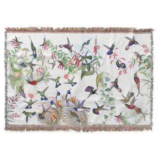 Hummingbird Birds Wildlife Flowers Throw Blanket