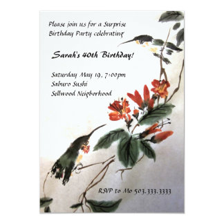 Hummingbird Birthday Invitation