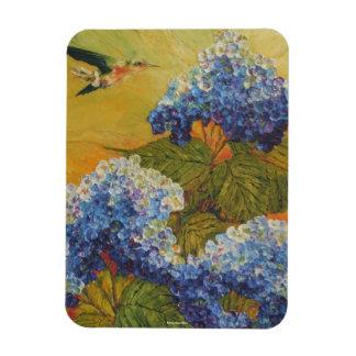 Hummingbird & Blue Hydrangea Magnet