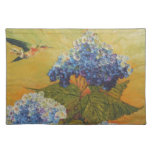 Hummingbird & Blue Hydrangea Placemat Cloth Placemat