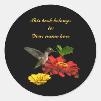 Hummingbird Bookplate Sticker