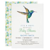 Hummingbird Boy Baby Shower Invitation