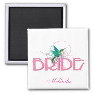 Hummingbird Bride 2 Inch Square Magnet