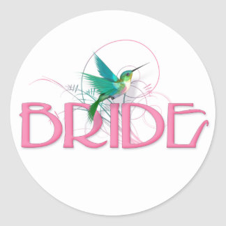 Hummingbird Bride Classic Round Sticker
