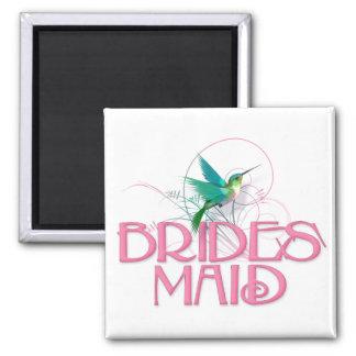 Hummingbird Bridesmaid 2 Inch Square Magnet