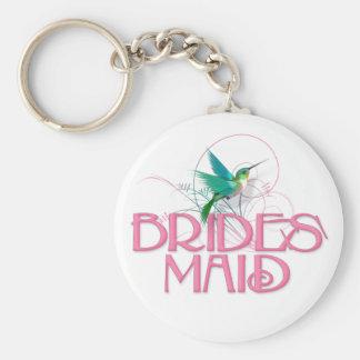 Hummingbird Bridesmaid Basic Round Button Keychain