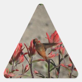 Hummingbird cardinal flowers triangle sticker