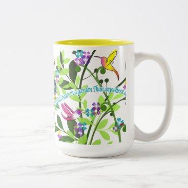 Coffee Themed Hummingbird Coffee Mug 15 oz Yellow