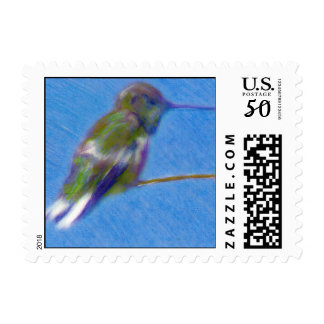 Hummingbird Colored Pencil Drawing Postage