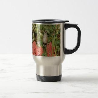 hummingbird coral red flowers 15 oz stainless steel travel mug
