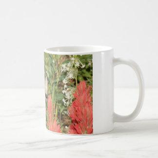 hummingbird coral red flowers classic white coffee mug