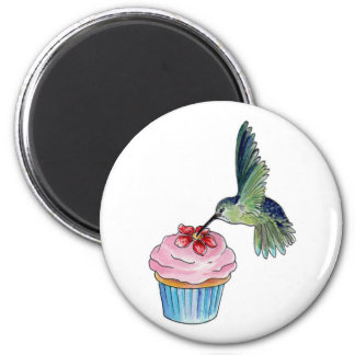 Hummingbird Cupcake Love is in the Air 2 Inch Round Magnet