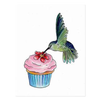 Hummingbird Cupcake Love Postcard