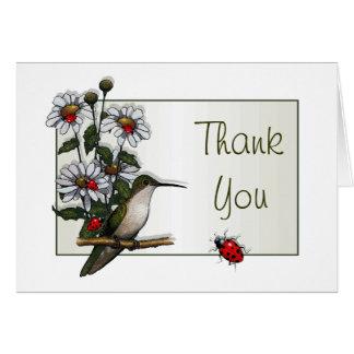 Hummingbird, Daisies, Ladybugs: Thank You Card