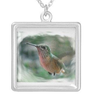 Hummingbird digital nature wildlife photo bird silver plated necklace