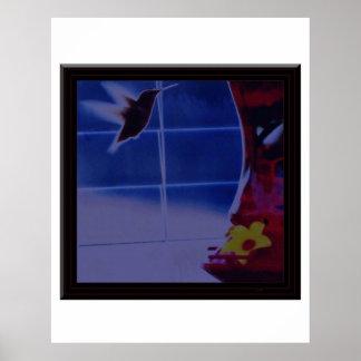 Hummingbird Digital Photo Edit/ Huge Bronze Matte  Posters