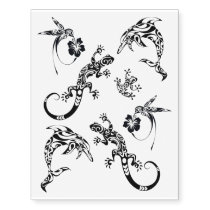Hummingbird, Dolphin, Lizard, Frog Abstract Design Temporary Tattoos