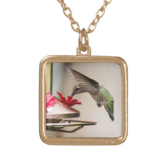 Hummingbird Drinking from a Feeder Necklace