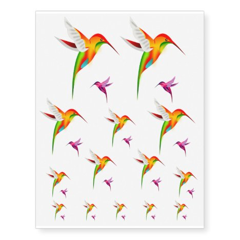 Hummingbird Emblem Temporary Tattoos