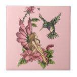 Hummingbird Fairy Ceramic Tile
