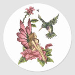 Hummingbird Fairy Round Stickers