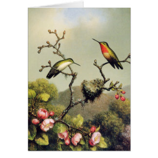 Hummingbird Family and Apple Blossom Greeting Card