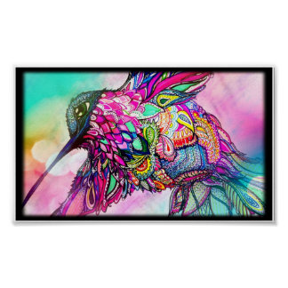 Hummingbird Fantasy Zen Art, Bright and Colorful Poster